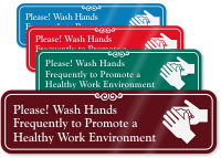 Wash Your Hands ShowCase™ Sign (with Graphic)