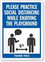 Practice Social Distancing While Enjoying Playground Sign