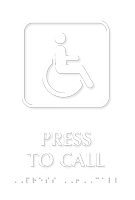 Press To Call Tactile Touch Braille Sign