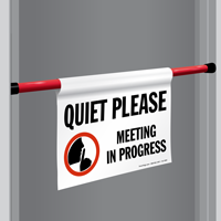 Quiet Meeting In Progress Door Barricade Sign