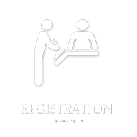 Registration Braille Sign with Hospital Receptionist Symbol