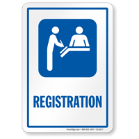 Registration Sign with Hospital Receptionist Symbol