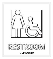 Female Restroom Door Sign with Handicap Symbol