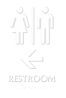 Restroom TactileTouch Braille Arrow Sign