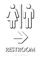 Restroom with Right Arrow Braille Door Sign