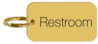 Restroom Brass Engraved Keychain