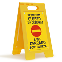 Bilingual Restroom Closed For Cleaning Free-Standing Sign