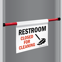 Restroom Closed For Cleaning Door Barricade Sign