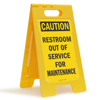 Restroom Out Of Service For Maintenance Floor Sign