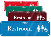 Restroom with Graphic ShowCase™ Wall Sign