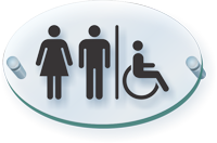 Unisex Handicap Restroom Symbol ClearBoss Sign