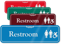 Restroom with Unisex and New Accessible Pictograms Sign