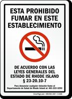 Esta Prohibido Fumar En Este Establecimiento De Rhode Island Spanish Sign