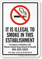 Rhode Island No Smoking Sign