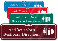 Directional Right Arrow Restroom Symbol Sign