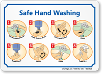 Safe Hand Washing Instruction Steps Sign With Graphics