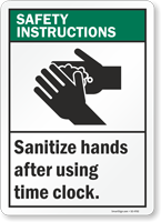 Sanitize Hands After Using Time Clock Sign