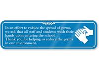 Staff Students Wash Hands Upon Entering School Sign