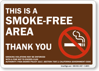 Smoke-Free Area Thank You Sign