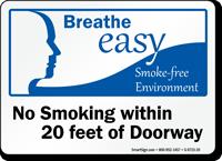 No Smoking Within 20 Feet Of Doorway Sign