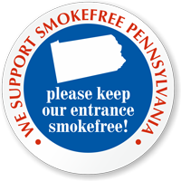 We Support SmokeFree Pennsylvania Window Decal