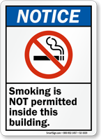 Smoking Not Permitted Inside Building Sign