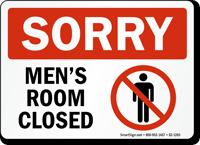 Sorry Men Room Closed Bathroom Sign