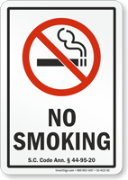 South Carolina No Smoking Sign