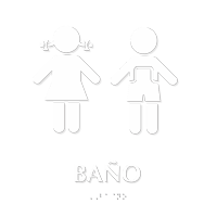 Banos Spanish Braille Sign with Girl, Boy Pictogram