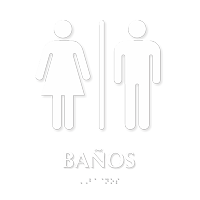 Banos Spanish Braille Sign with Male, Female Pictogram