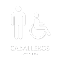 Caballeros TactileTouch Braille Spanish Restroom Sign