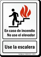 En Caso De Incendio Use La Escalera Spanish Sign