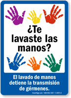 ¿Te lavaste las manos? El lavado de manos detiene Spanish Sign