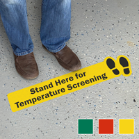 Stand Here for Temperature Screening SlipSafe Floor Sign