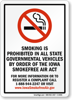 Smoking Is Prohibited In Governmental Vehicles Sign