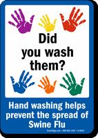 Prevent Swine Flu Wash Hands Sign