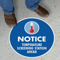 Temperature Screening Station Social Distancing Sign