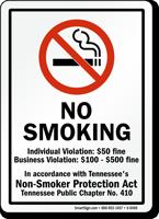 No Smoking Individual Violation: $50 Fine Sign