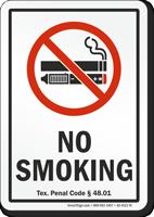 Texas No Smoking Sign