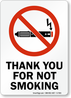 Thank You For Not Smoking Sign With Graphic