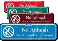 No Animals Except Trained Service Animals Designer Sign