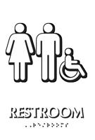 Unisex Handicap Restroom TactileTouch Braille Sign