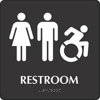Restroom Braille Sign, Men, Women, New ISA Pictograms