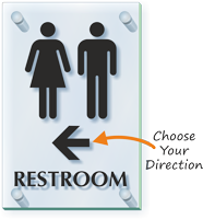 Unisex Restroom With Arrow ClearBoss Sign