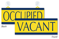 Vacant/Occupied Double Sided Sign with Suction Cups