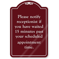 Notify For Scheduled Appointment ShowCase Sign