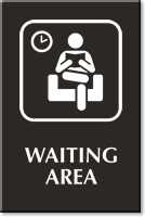 Waiting Area Engraved Sign with Public Room Symbol
