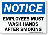 Wash Hands After Smoking Sign