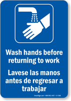 Bilingual Wash Hands Before Returning To Work Sign