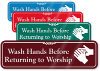 Wash Hands Before Returning To Worship Showcase Sign